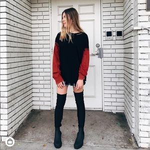 LF distressed oversized dip dye red sleeve top
